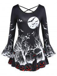 Plus Size Long Sleeve Bat Print Criss Cross Halloween T Shirt -