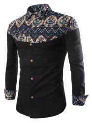 Ethnic Print Patch Button Up Long Sleeve Shirt -