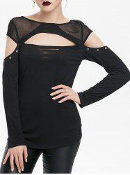 Cut Out Mesh Insert Grommet Long Sleeve Gothic T-shirt -