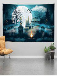 Halloween Grave Forest Digital Print Wall Tapestry -