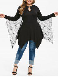 Plus Size Keyhole Handkerchief Gothic Tee With Bat Wings -