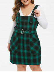Plus Size Buckle Straps Plaid Mini Overall Dress -