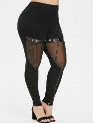 Plus Size Sheer Mesh Leather Straps Halloween Gothic Leggings -