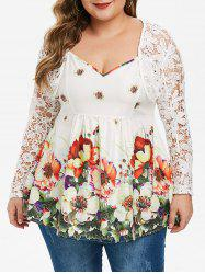 Plus Size Crop Lace T Shirt with Ditsy Print Spaghetti Strap Tank Top -