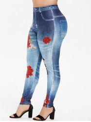Plus Size Floral 3D Ripped Jean Print Skinny Jeggings -