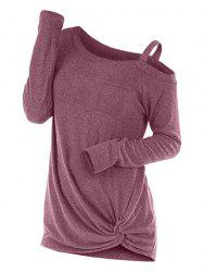 Plus Size Front Twist Marled Skew Neck T Shirt -
