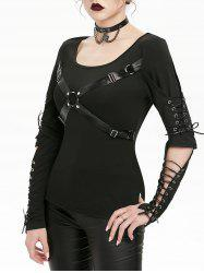 Harness Insert Lace-up Cut Out Elbow Gothic T-shirt -