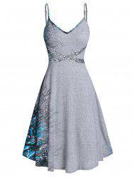 Spaghetti Strap Tree Print Sequined Dress -