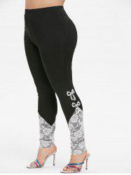 Plus Size Bowknot Lace Insert High Waisted Skinny Leggings -