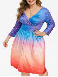 Plus Size Plunge Dotted Ombre Color Dress -