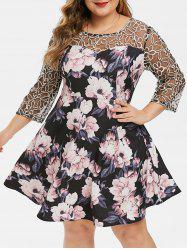 Plus Size Floral Mesh Yoke Semi Formal Dress -