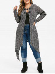 Plus Size Hooded Heathered Asymmetrical Duster Cardigan -