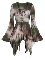 Halloween Bell Sleeve Tie Dye Lace Up Gothic T Shirt -