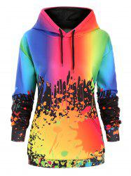 Drawstring Rainbow Paint Splatter Front Pocket Plus Size Hoodie -