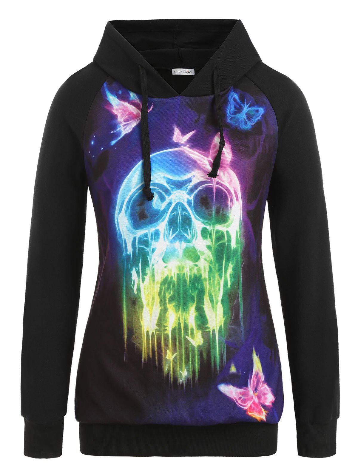 Best Plus Size Halloween Skull and Butterfly Print Raglan Sleeve Hoodie