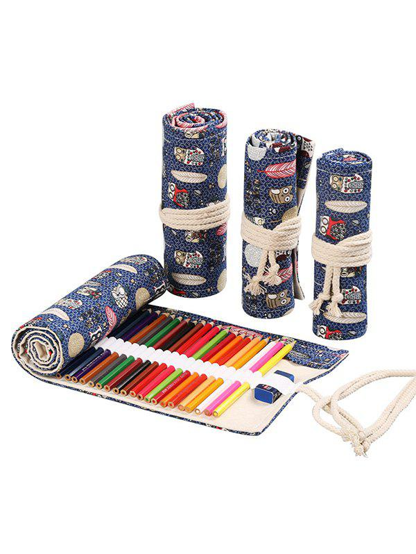 Discount Owl Pattern Canvas Pencil Case Roll