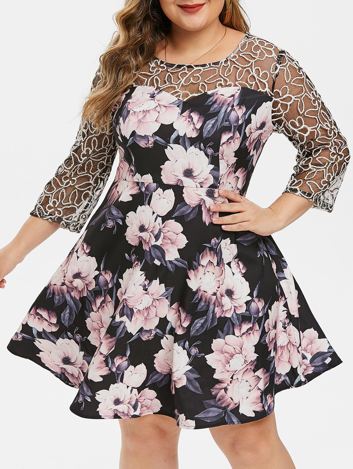 Buy Plus Size Floral Mesh Yoke Semi Formal Dress