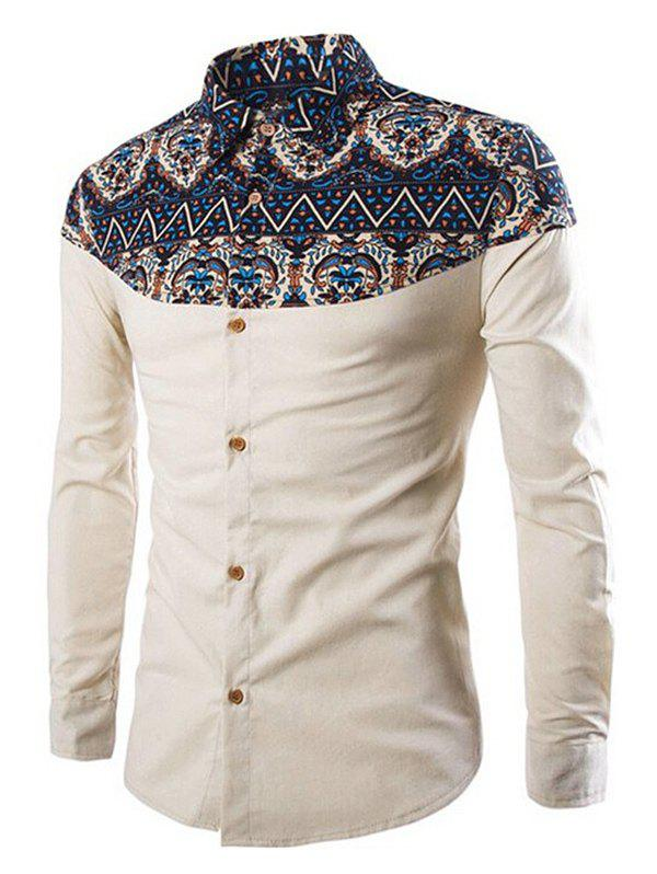 Chic Ethnic Print Patch Button Up Long Sleeve Shirt