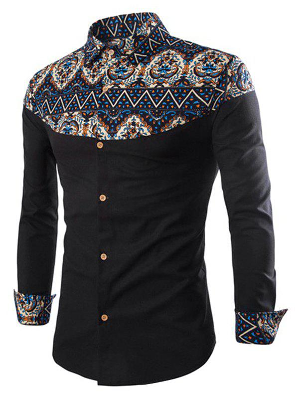 Fancy Ethnic Print Patch Button Up Long Sleeve Shirt
