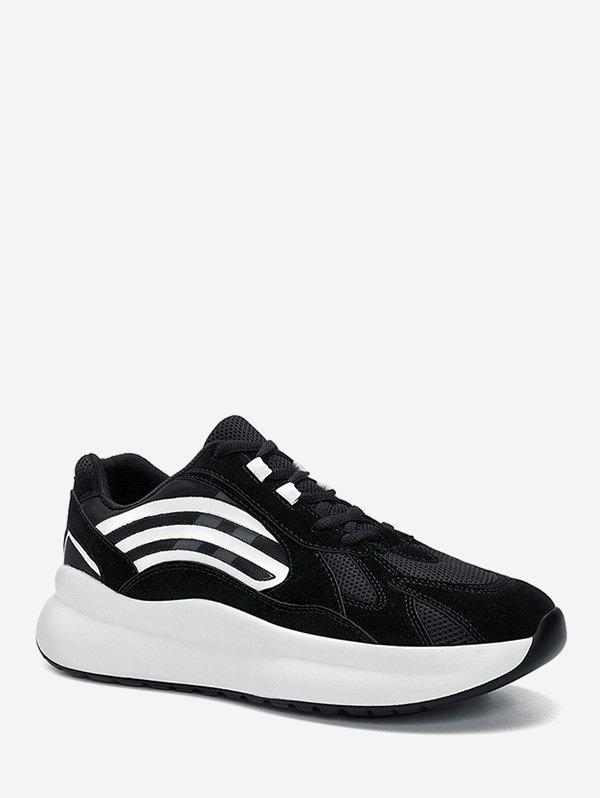 Outfit Striped Accent Mesh Trim Outdoor Sneakers