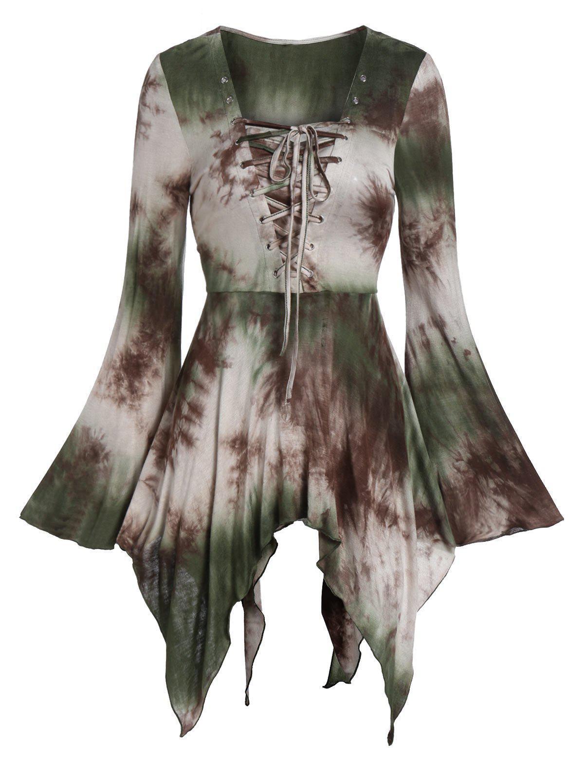 Sale Halloween Bell Sleeve Tie Dye Lace Up Gothic T Shirt