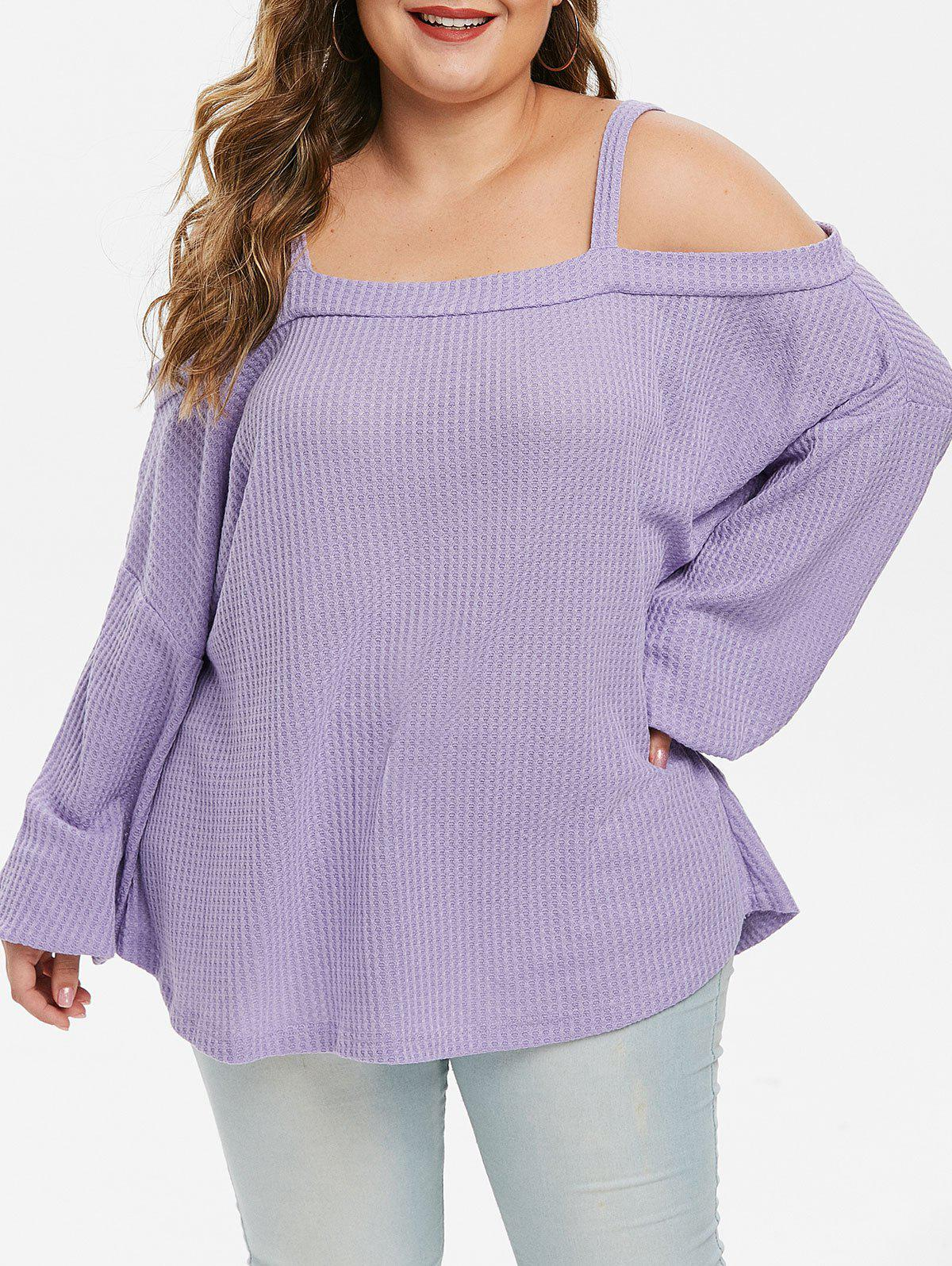New Plus Size Lantern Sleeve Cold Shoulder Knit Top