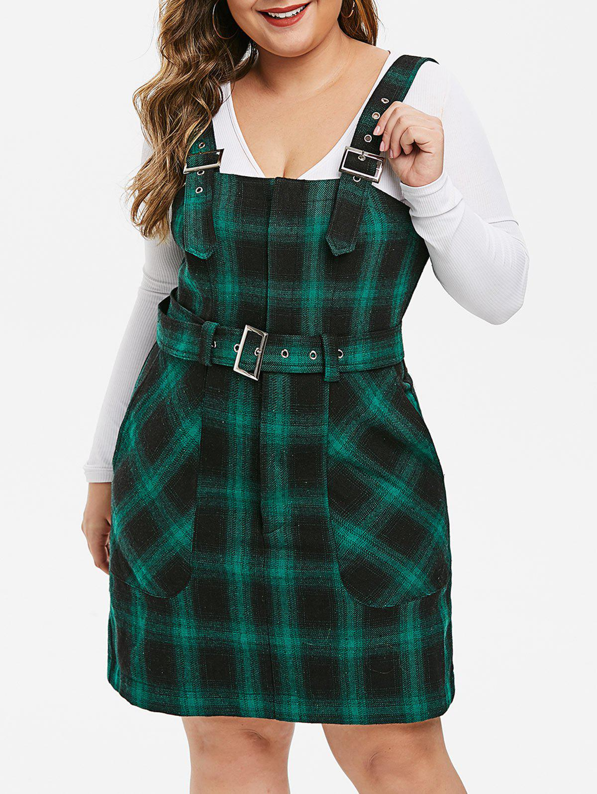 Plus Size Buckle Straps Plaid Mini Overall Dress