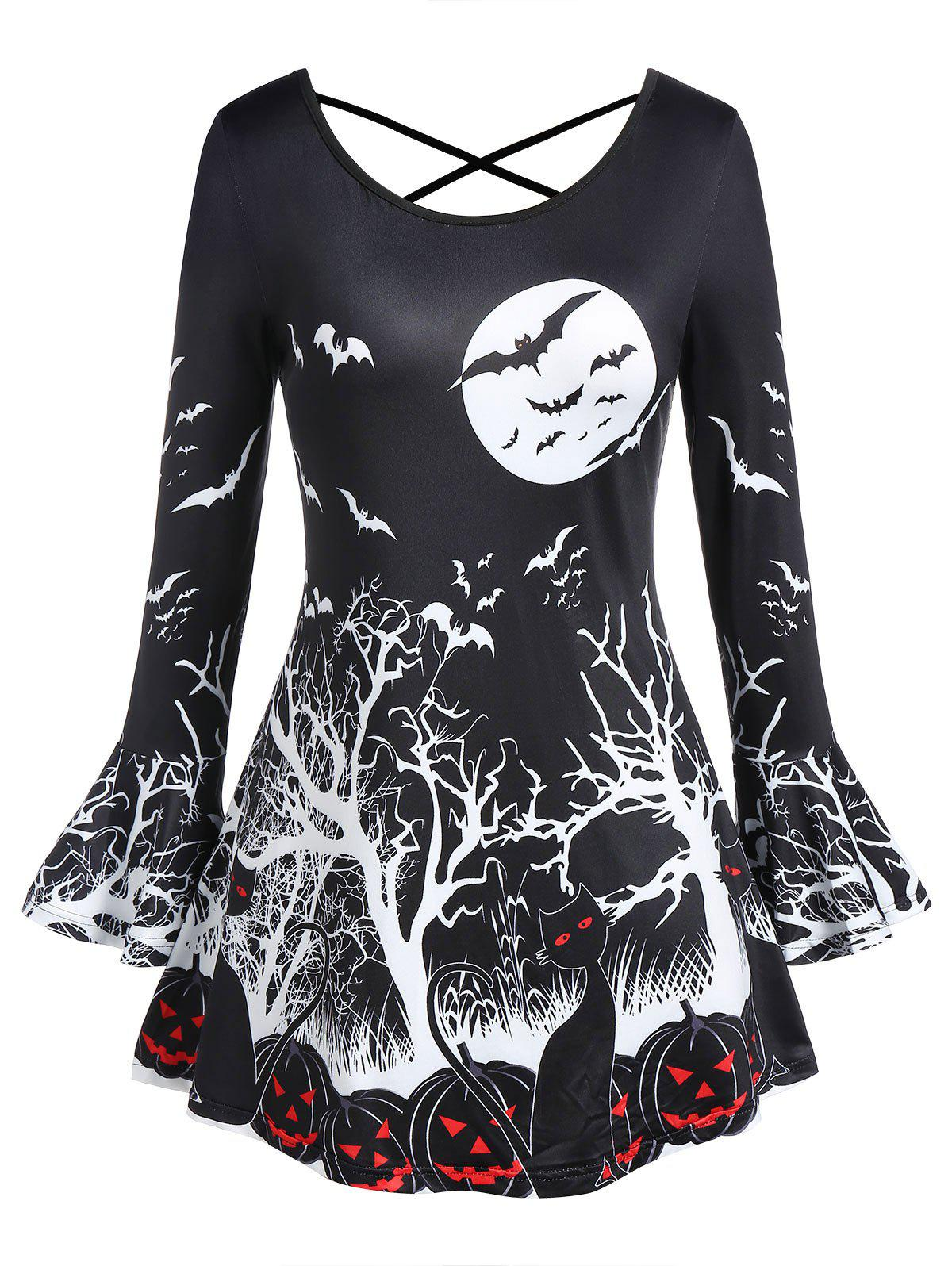 Fashion Plus Size Long Sleeve Bat Print Criss Cross Halloween T Shirt