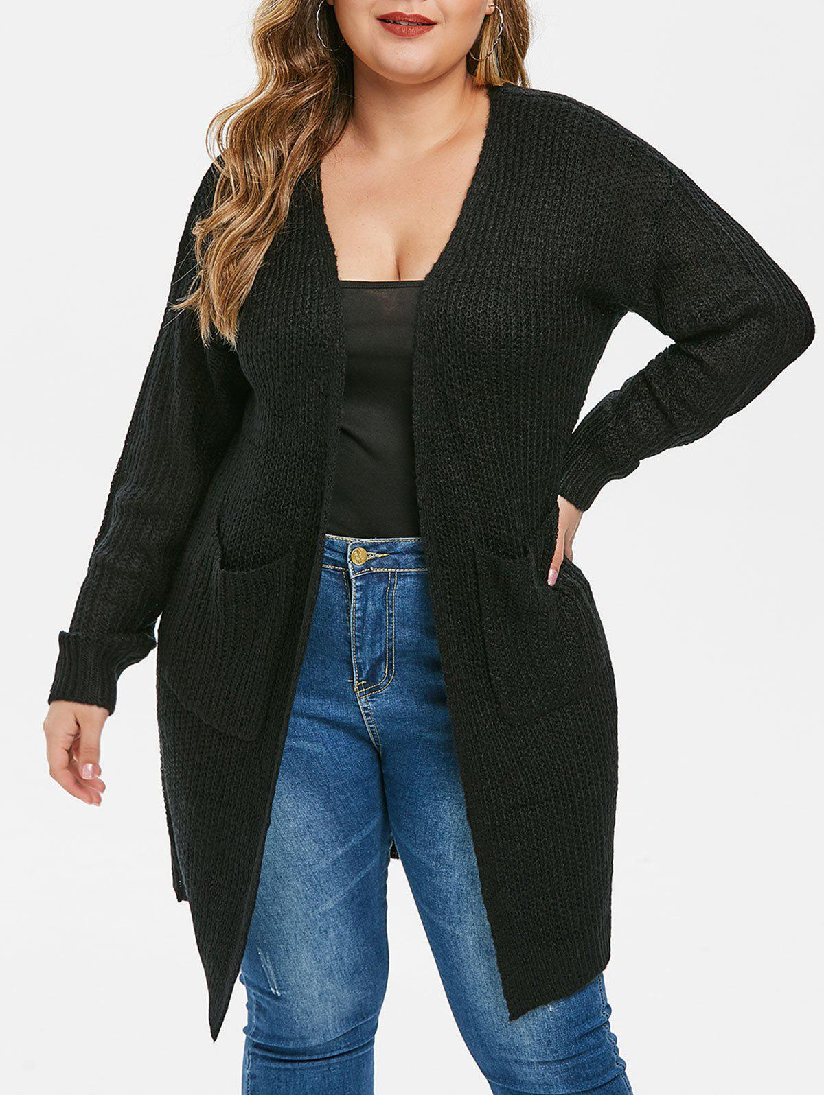 Longline Solid Pockets Open Front Plus Size Cardigan