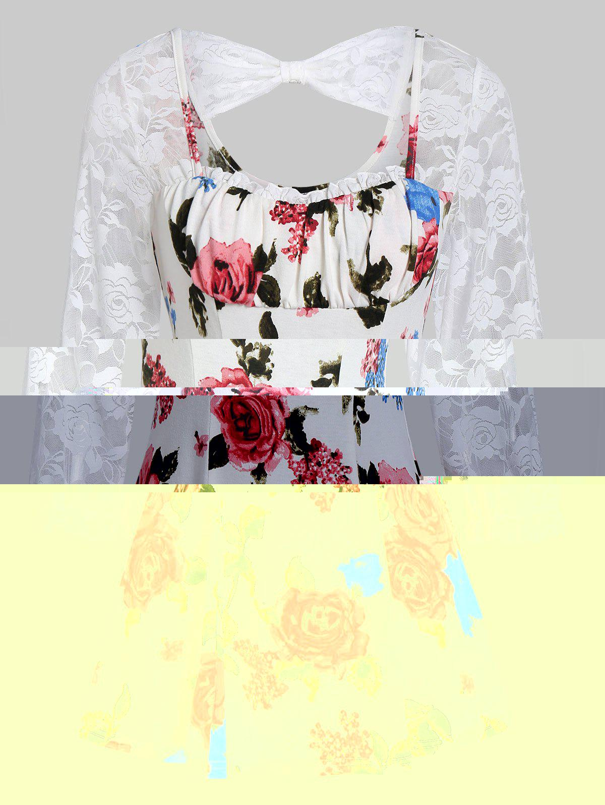 Outfit Lace Insert Ditsy Print Cut Out T Shirt