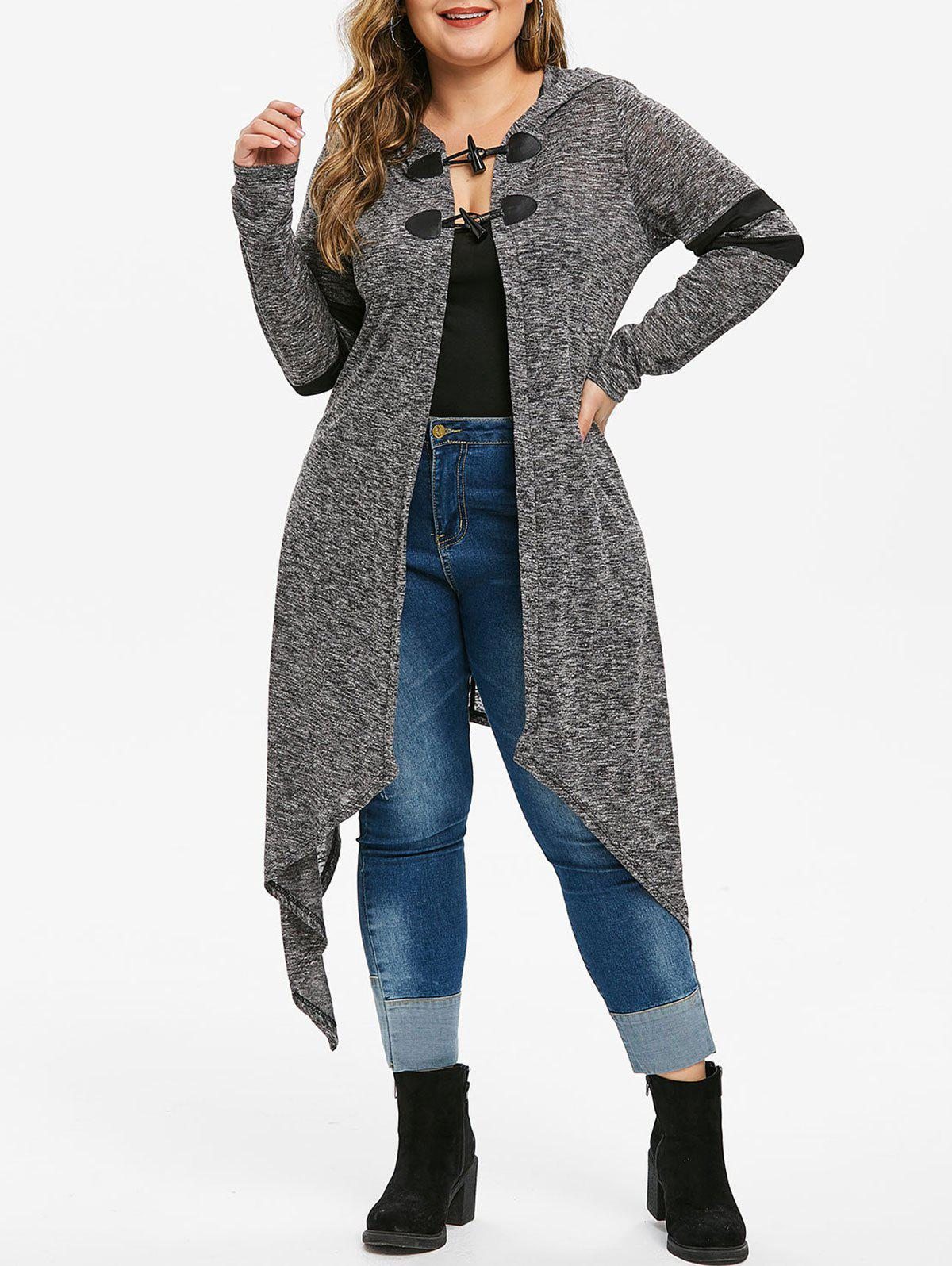 New Plus Size Hooded Heathered Asymmetrical Duster Cardigan