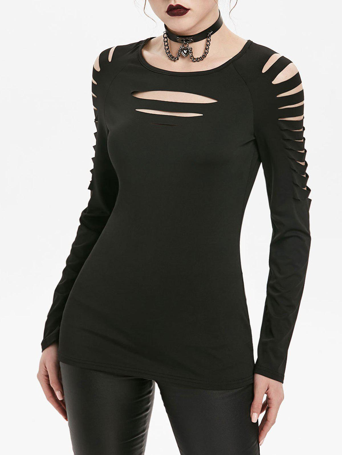 Outfits Raglan Sleeve Slimming Ripped Gothic T-shirt