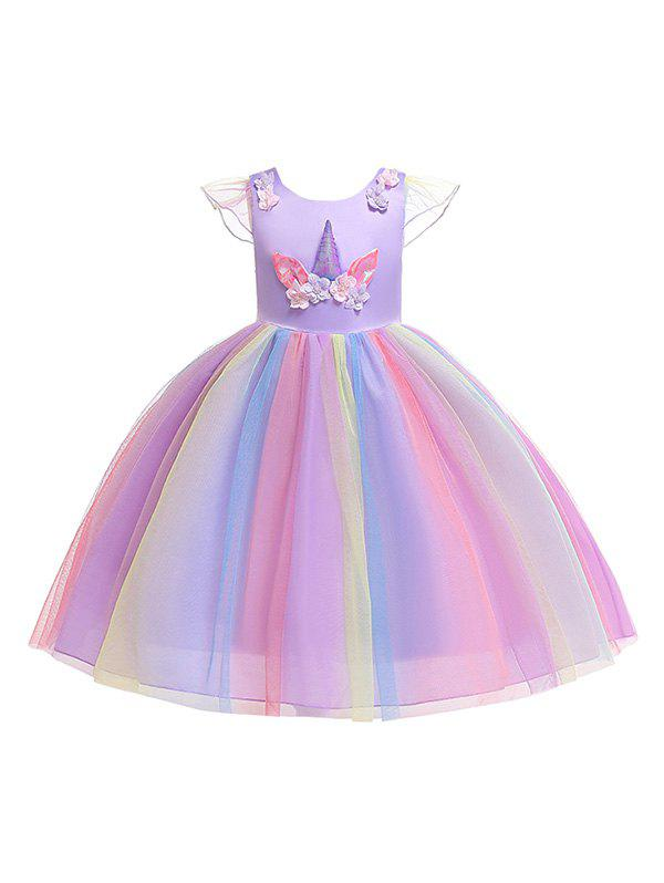 Store Unicorn Flower Pattern Cap Sleeve A Line Tulle Dress