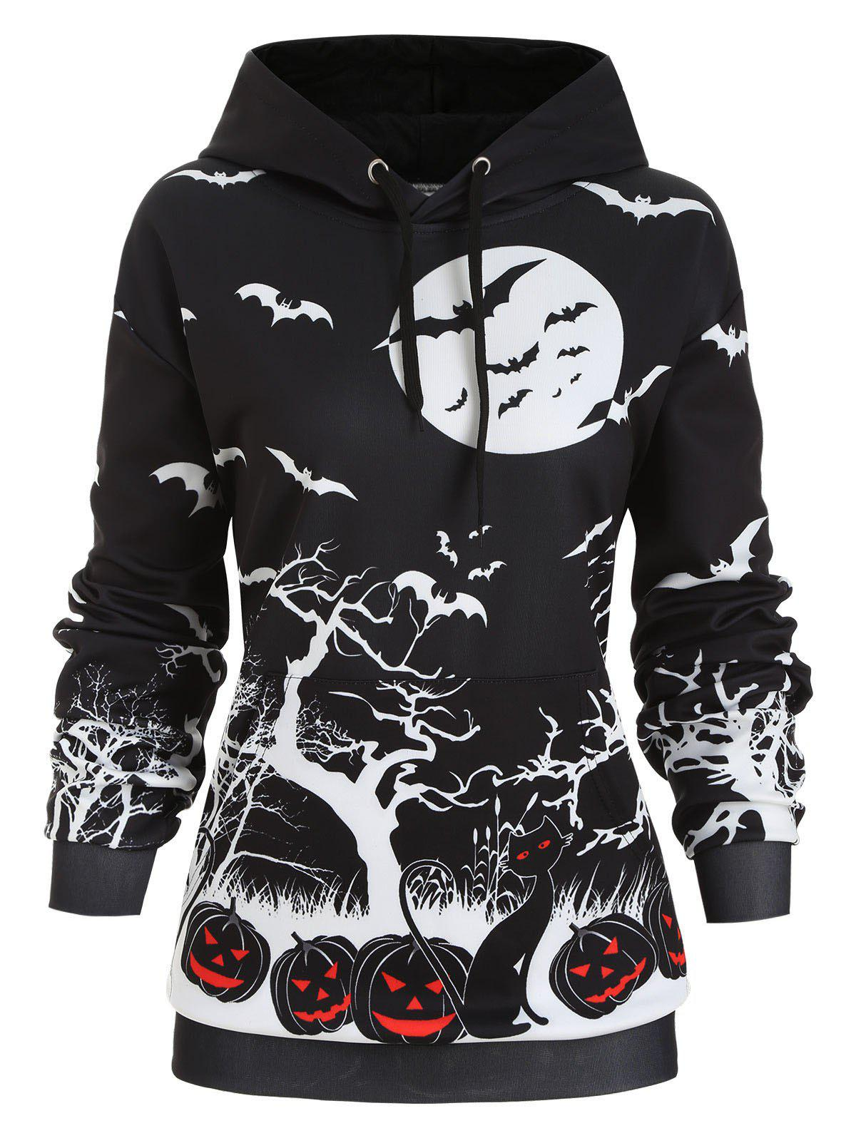 Unique Front Pocket Pumpkin Bat Print Halloween Plus Size Hoodie