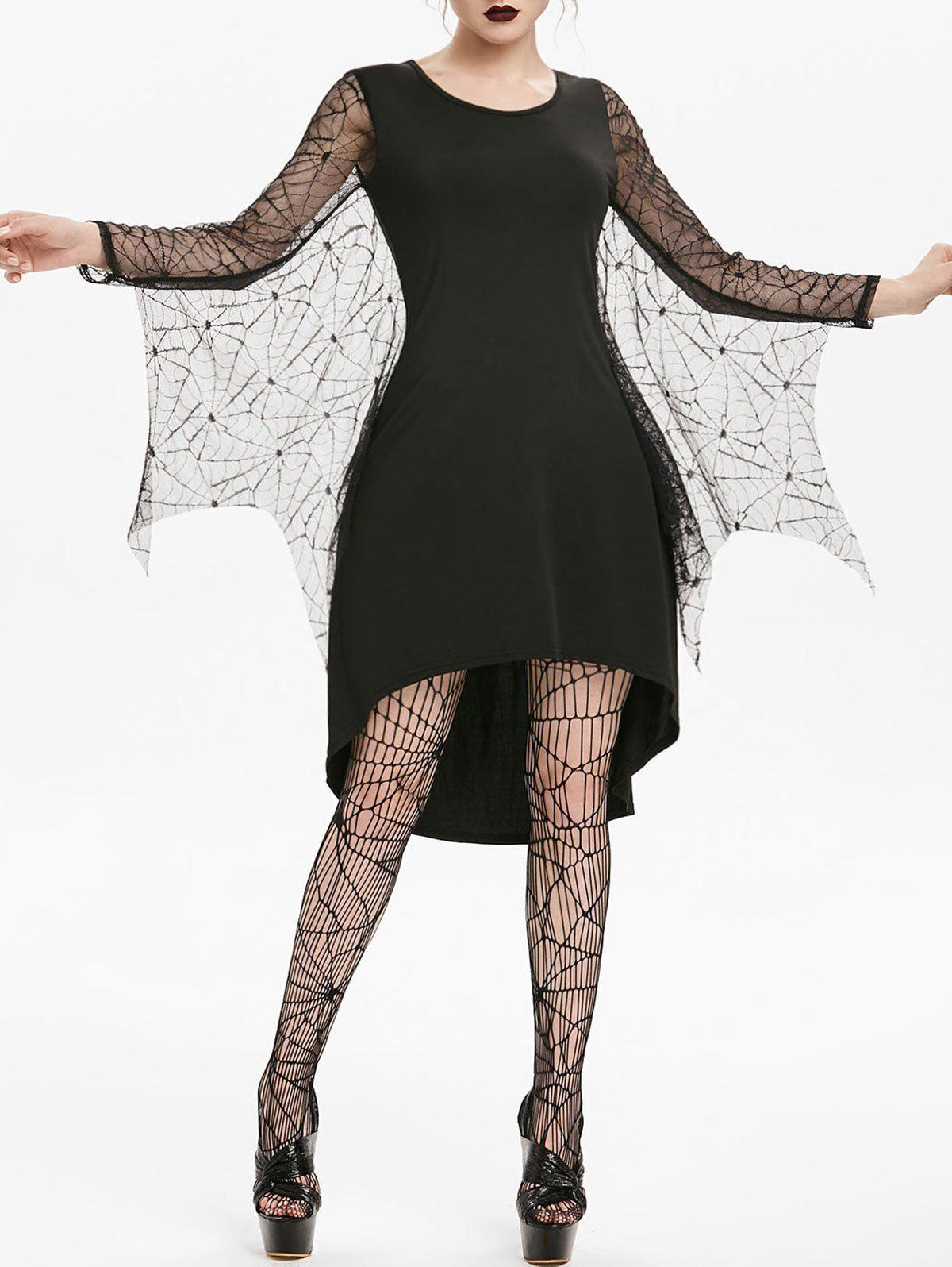 Fashion Asymmetric Spider Web Lace Insert High Low Gothic Dress
