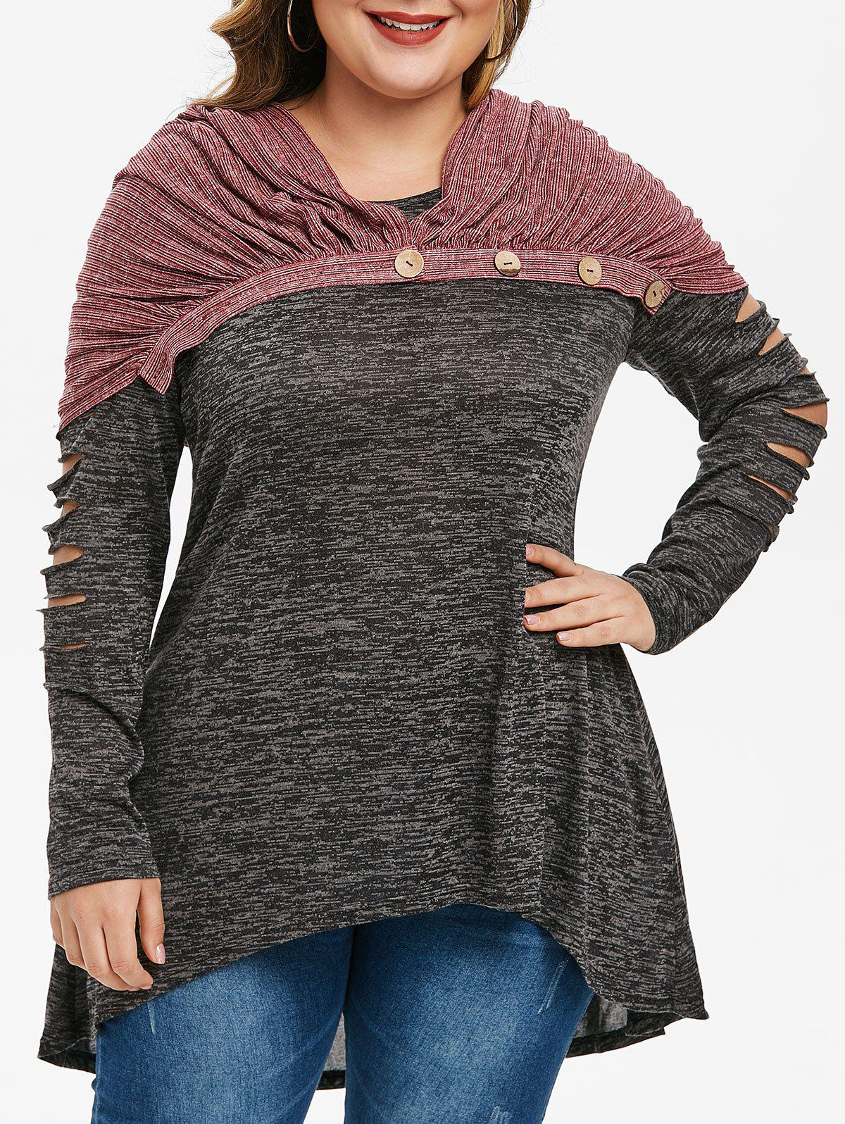 Affordable Plus Size Ripped Marled T Shirt With Convertible Button Scarf