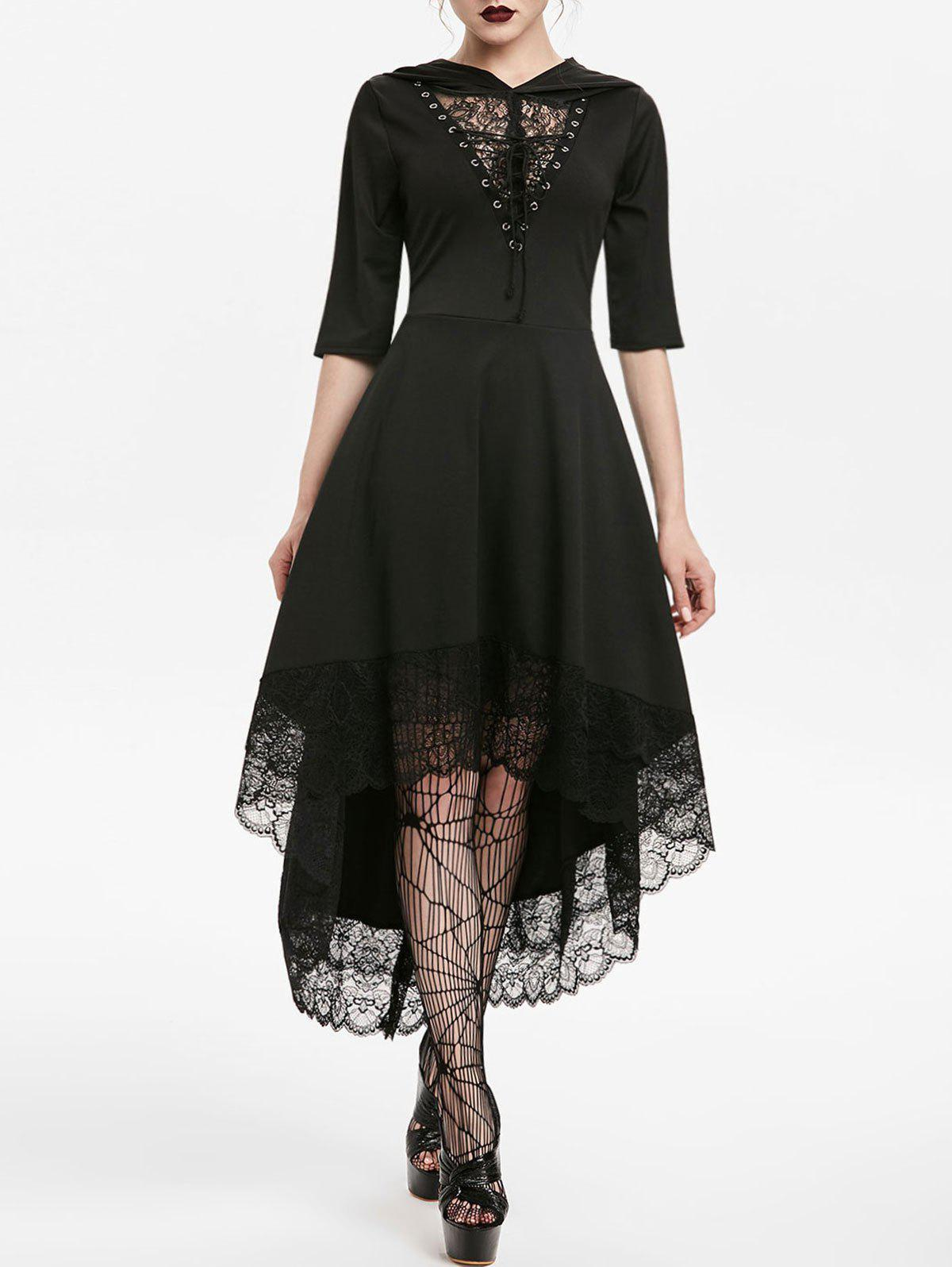 Outfit Hooded Lace Up Dip Hem Dress