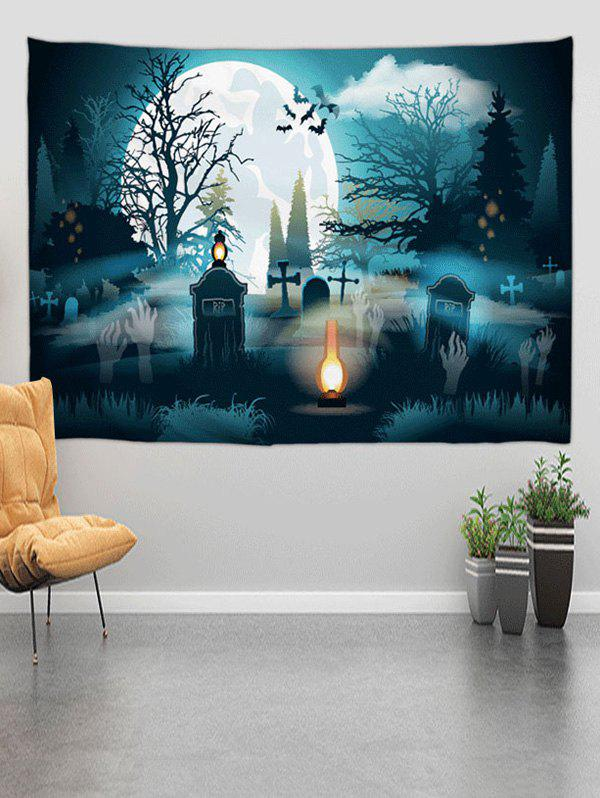 Trendy Halloween Grave Forest Digital Print Wall Tapestry