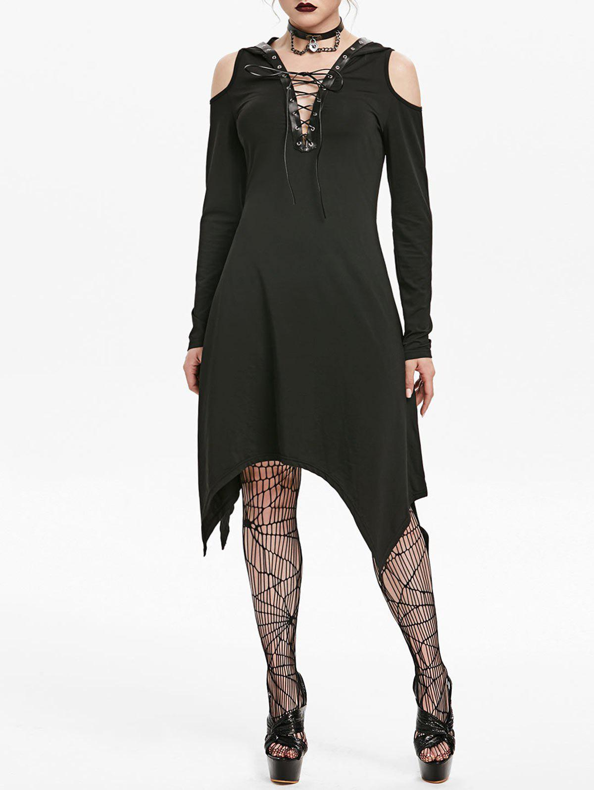 New Hooded Cold Shoulder Lace-up Grommet Handkerchief Gothic Dress