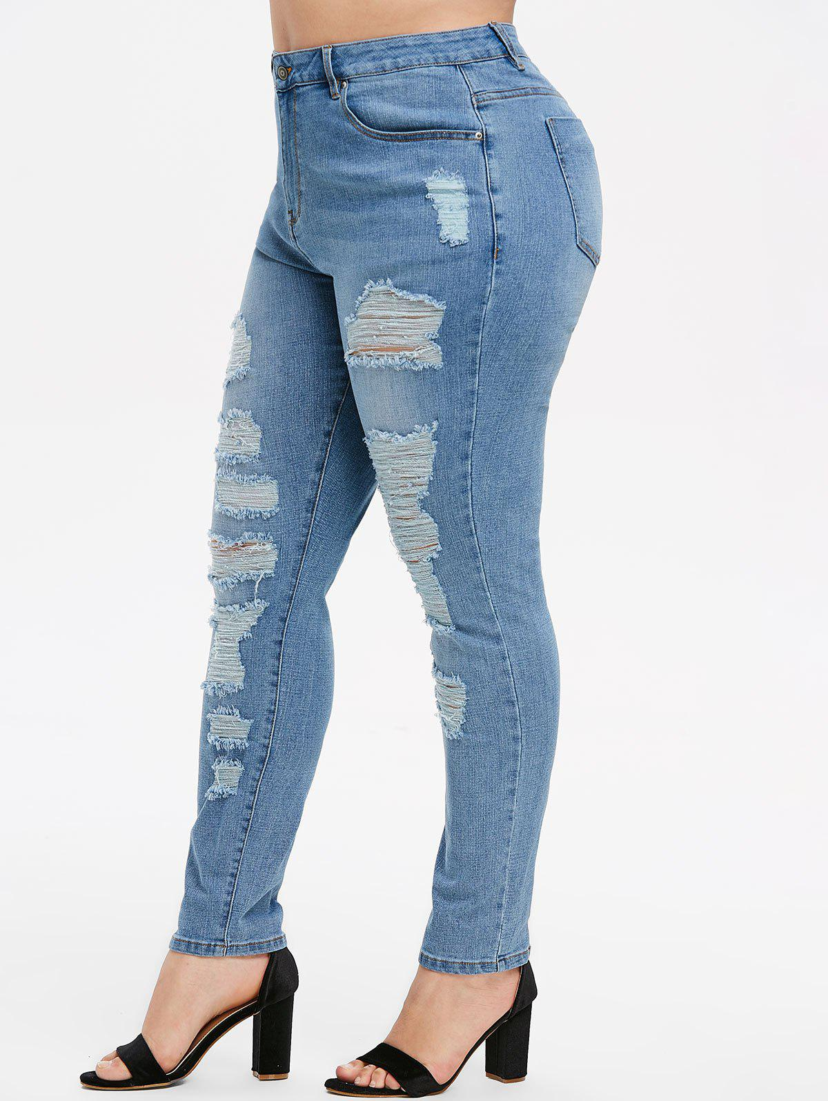 Shop Plus Size Distressed Skinny Jeans