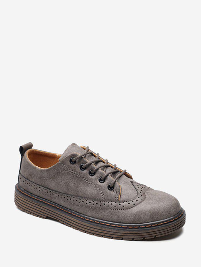 Best Round Toe Wingtip PU Leather Shoes