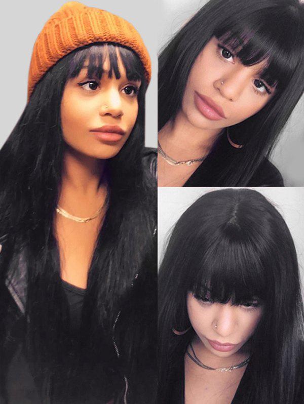 Online Synthetic See-through Bang Long Straight Wig