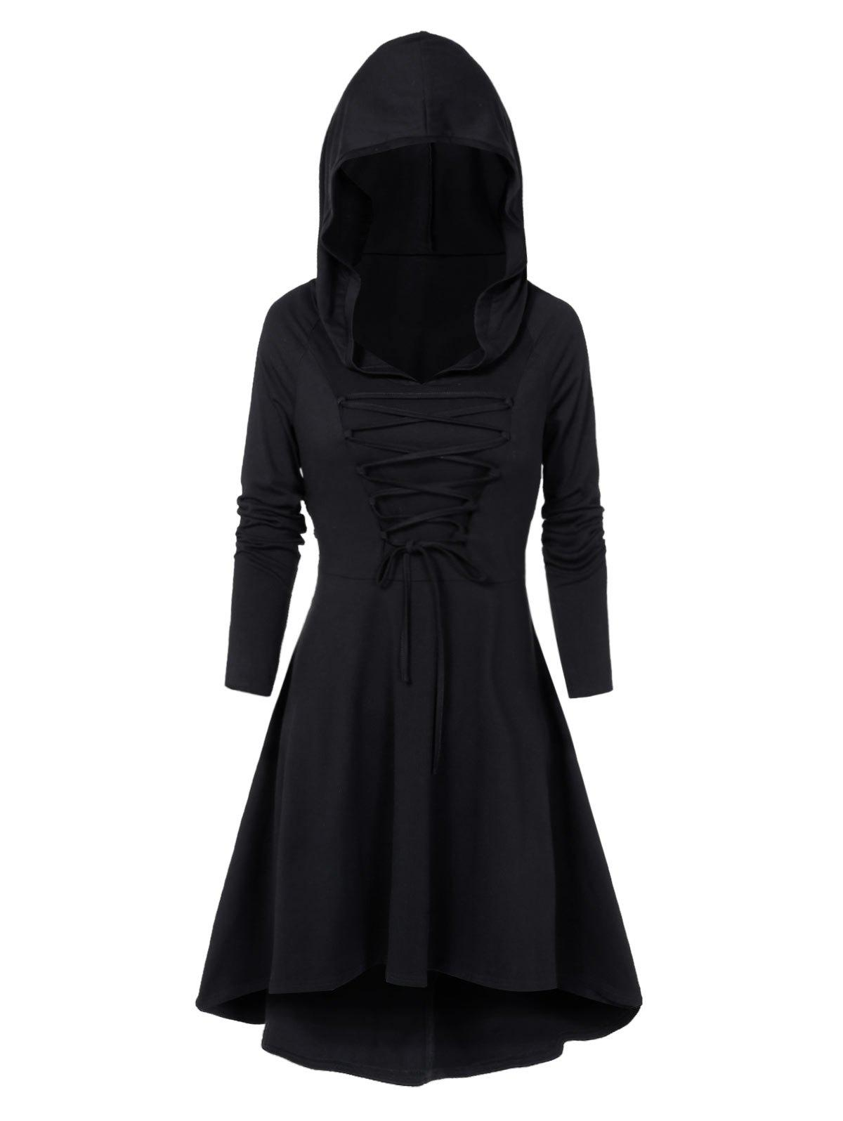 Fancy Lace-up High Low Hooded Heathered Gothic Dress