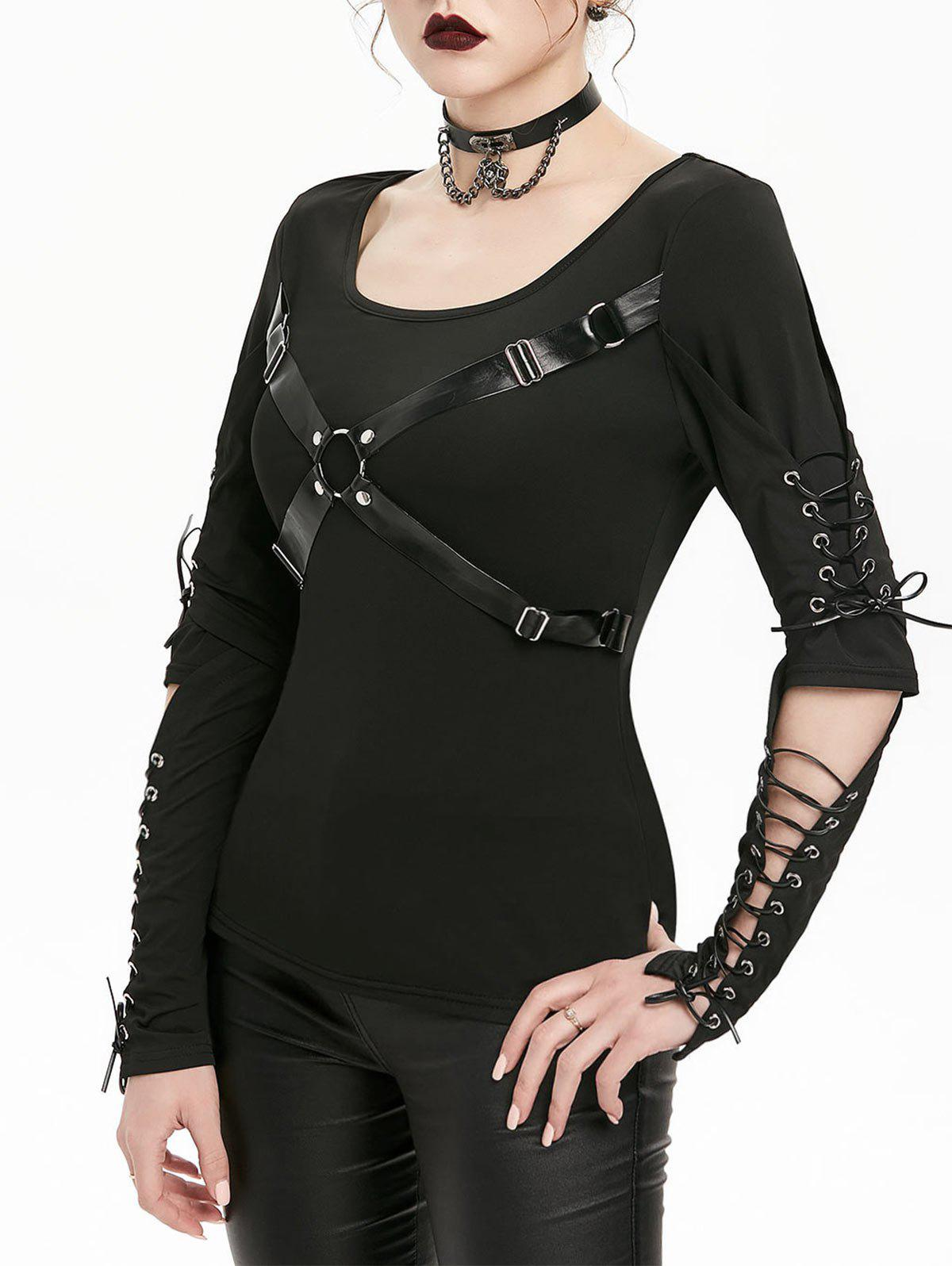 Unique Harness Insert Lace-up Cut Out Elbow Gothic T-shirt