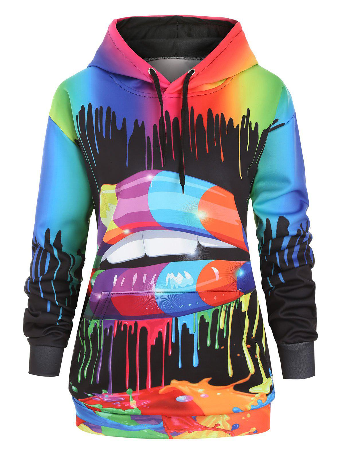 Unique Drawstring Rainbow Paint Splatter Front Pocket Plus Size Hoodie
