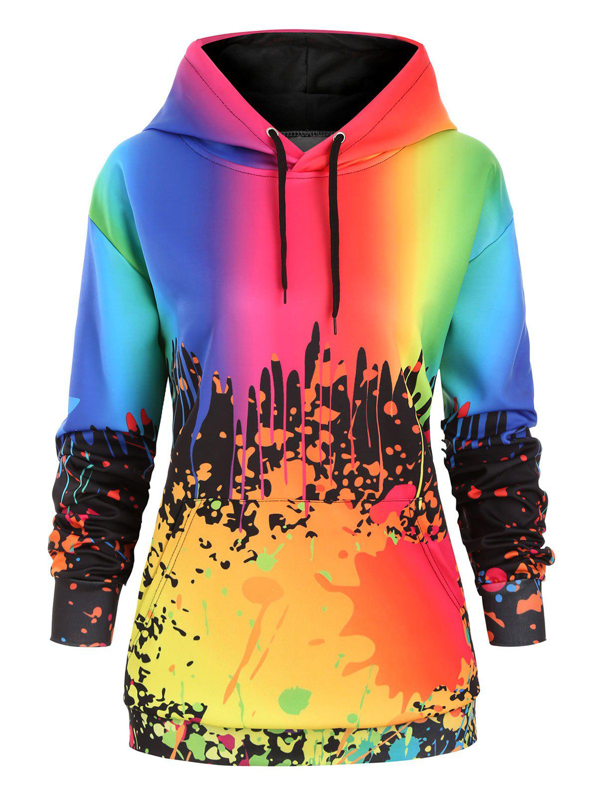 Chic Drawstring Rainbow Paint Splatter Front Pocket Plus Size Hoodie