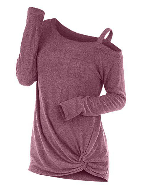 Best Plus Size Front Twist Marled Skew Neck T Shirt