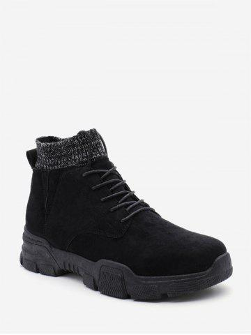 Solid Color Patch Sock Ankle Boots