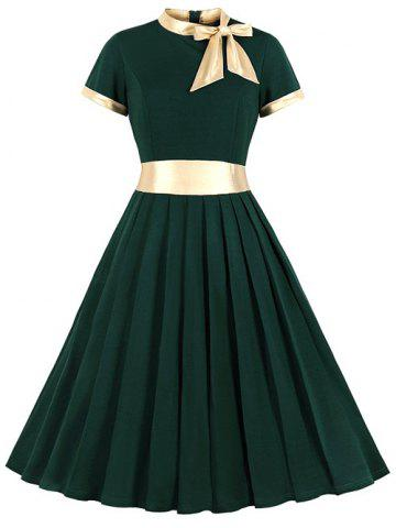 Knotted Contrast Trim Stand Neck Pleated Dress