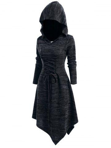 Lace Up Cut Out Asymmetric Hooded Dress